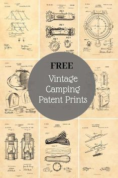 Essential camping equipment has not changed much over the years. Here are some fabulous free patent prints for campers and scouts. Great for a mancave. Art Vintage, Vintage Images, Vintage Prints, Vintage World Maps, Vintage Ephemera, Vintage Style, Camping Bedarf, Camping Kitchen, Camping Hammock