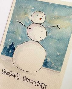 Watercolored Snowman Card with Border