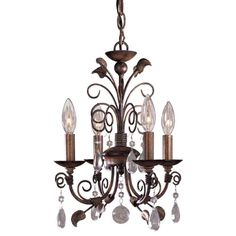 Minka Lavery 3127-126, Mini Crystal Chandelier Lighting, 4 Light, 160 Watts, Walnut