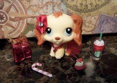 ️Littlest Pet Shop LPS lot ❤ #298 Brown Cream Cocker Spaniel Dog ❤ Custom XMAS #Hasbro
