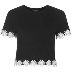 TOPSHOP Daisy Crochet Trim Tee ($34) ❤ liked on Polyvore featuring tops, t-shirts, shirts, black, cotton shirts, black tee, boxy tee, black crochet top and floral t shirt