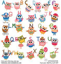 Font owls Digital clip art for Personal and от Giftseasonstore