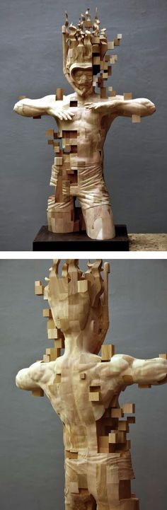 Hsu Tung Han is known for his pixelated wood sculptures. His newest piece depicts a snorkeler submerged in water.