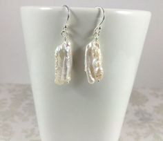 White Biwa Stick Pearl with Sterling Silver by TheBeadtiqueJewelry