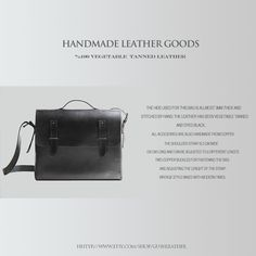 Oh my GUSH! Handmade Leather Goods.  Hand stitched, handcrafted vegetable tanned leather bags, camera   cases and accessories. Vintage style mixed with modern times. Ideal for those,   who want to use personalized and unique designs.    http://www.etsy.com/shop/gushleather  www.gushgoods.com