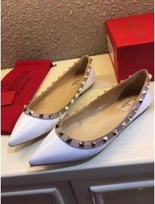 Valentino Rockstud Flat Ballerina in Patent Calfskin White