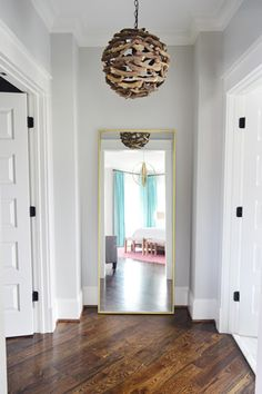 young house love: the mirror at the end of the hall and that driftwood light! Young House Love, Driftwood Chandelier, Stonington Gray, Palette, Deco Design, Grey Walls, Benjamin Moore, Architecture, Decoration
