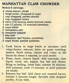 Manhattan Clam Chowder - Antique Recipes: