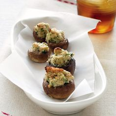 Baked goat cheese stuffed mushrooms  These stuffed mushrooms make great bite-size appetizers.