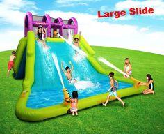 Huge Water Slide Park For Kids Toddler Inflatable Splash Pool Large Bounce Spray Water Slides Backyard, Backyard Water Parks, Outdoor Fun For Kids, Backyard For Kids, Banzai Water Slide, Inflatable Water Park, Inflatable Island, Cool Pool Floats, Bouncy House