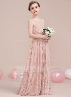 A-Line/Princess Scoop Neck Floor-Length Bow(s) Zipper Up Spaghetti Straps Sleeveless No Other Colors General Lace Junior Bridesmaid Dress