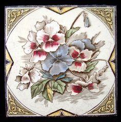 OMG!! I want this!!! English brown transferware tile - pansies 1885