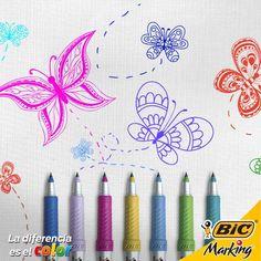 Feliz Día Internacional del Color: Tus BIC Marking ultra finos son ideales para que las mariposas vuelen con giros llenos de gracia.