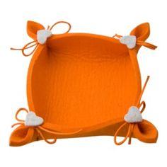 Svuota tasche arancione con cuori bianchi