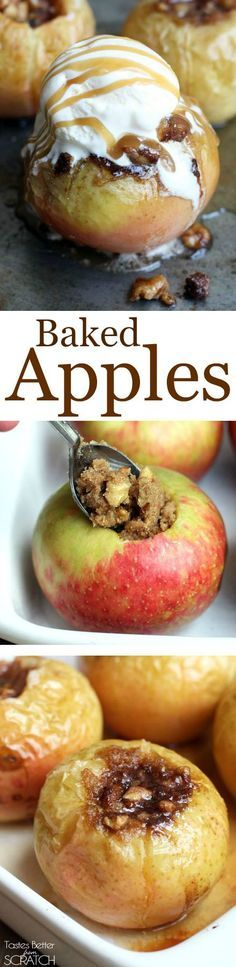Crisp apples stuffed with a brown sugar, pecan mixture and baked until tender. One of my favorite healthy treats! | Posted by: DebbieNet.com