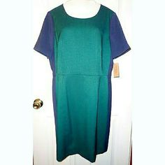 "Sheath Dress. Blue & Green. NWT. 14. Great office dress. Short sleeves. Lined. Back zipper and slit. Polyester blend. Length: 36 1/2"". Armpit to armpit: 21"". Waist: 34"". Cremieux Dresses"