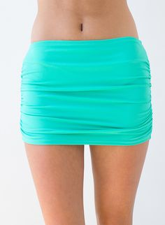 Shirred Seafoam Swim Skirt w/ Bottoms | Lime Ricki Swimwear