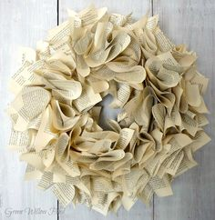 Green Willow Pond: A Book Page Wreath and More Fall Decor