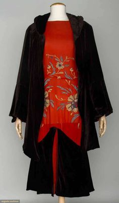 Jean Patou Evening Ensemble, late 1920s, red chiffon drop waist dress and brown velvet 3/4 coat, brown velvet flared hem flounce, the red chiffon embroidered in wool yarn and glass beads in floral design, balloon sleeves, via Augusta Auctions, NYC. (shown with coat)
