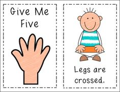 "Classroom Management {book to go with circle time ""give me five"" rules) Classroom Behavior Management, Behaviour Management, Classroom Organisation, Classroom Rules, Kindergarten Classroom, Classroom Ideas, Classroom Displays, Give Me Five, Give It To Me"