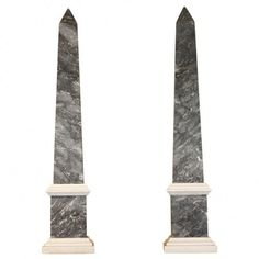 Pair of Neoclassical Grey Marble Obelisks, Italian, early 20th century -  Height: 28 in. (71 cm)