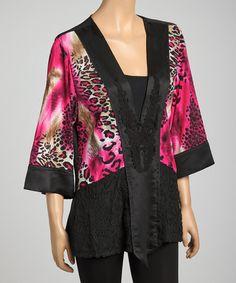 Look at this #zulilyfind! Fuchsia Leopard Lace Embroidered Silk-Blend Tunic #zulilyfinds