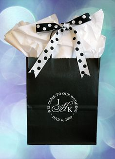 #weddingwelcomebag -This classic look is timeless. Your wedding welcome bag can start the festivities as your guests arrive at their hotels. They will appreciate your thoughtfulness in preparing a goodie bag for them. At $1.59 each, printed, our bags are sturdy and affordable. Roomy enough for 2 16 ounce bottles of water, 2 oranges, chips, microwave popcorn, pretzels and M & Ms. Add directions to the festivities and an itinerary of events.More design options at www.favorsyoukeep.com