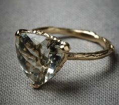 Woodland Sun ring in 18K gold with green amethyst by BHLDN. $970