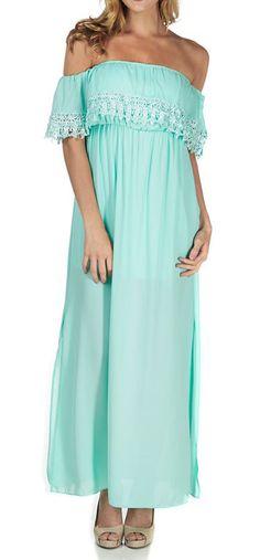 Mint Green Crochet Off-Shoulder Strapless Maxi Dress