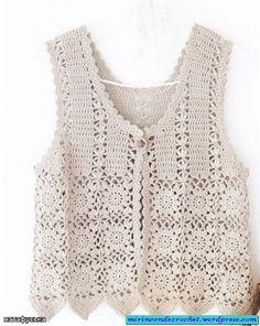 Crochet patterns: november Free crochet chart for this nice vest Gilet Crochet, Crochet Vest Pattern, Crochet Jacket, Crochet Chart, Crochet Cardigan, Crochet Motif, Crochet Stitches, Free Crochet, Knitting Patterns