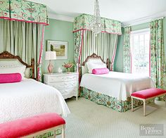 Sharing a bedroom might not seem so burdensome if the room looks like this -- as sweet, frothy, and colorful as a birthday cake and perfectly prepared for a pair of princesses. Both beds are dressed in an elegant green, white, and pink palette. It's so unabashedly upscale and feminine that it makes the perfect escape from reality.