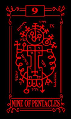 New design for the Nine of Pentacles Tarot Card from Wraithe Sigillum Tarot. Now has borders, numbers, and names.