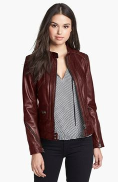 Bernardo Zip Trim Leather Scuba Jacket (Regular & Petite)   Nordstrom