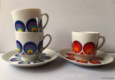 Winterling Schwarzenbach Bavaria 70s porcelain cups and saucers with retro circular pattern by SoVintastic, €11.00 only