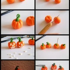 Fimo ideen: Anleitung für Halloween Kürbis
