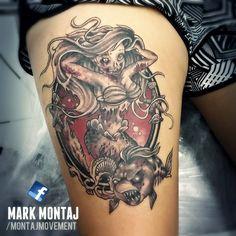 Zombie Mermaid Tattoo On Thigh