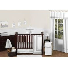 Sweet Jojo Designs Hotel Collection Crib Bedding Collection in White/Grey - BedBathandBeyond.com