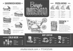 Images, photos et images vectorielles de stock similaires de Restaurant Food Menu Design Chalkboard Background - 196454786 similaires | Shutterstock Sandwich Menu, Pizza Menu, Menu Fast Food, Food Menu Design, Menu Restaurant, Hot Coffee, Images, Sandwiches, Photos