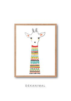 Baby Giraffe Art Print Animal Illustration Drawing by dekanimal