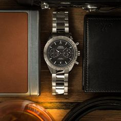New #EssentiallyOmega social media campaign. This image: stainless steel OMEGA Speedmaster '57 & OMEGA leather wallet