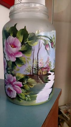 Bottle Painting, Bottle Art, Diy Painting, Painted Wine Bottles, Painted Vases, Wine Glass Crafts, Bottle Crafts, Diy Recycling, Glass Painting Designs