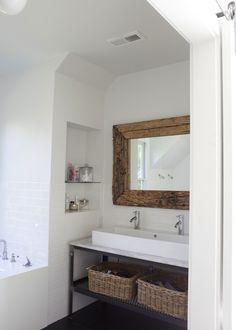 Suzie: Heather A Wilson, Architect - Modern attic bathroom with salvaged wood mirror, white ...