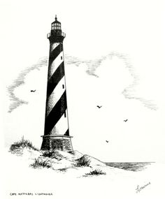 Lighthouse Sketch, Lighthouse Art, Forest Sketch, Cape Hatteras Lighthouse, Oregon Beaches, Cool Small Tattoos, Cool Art Drawings, Beach Fun, Black Tattoos