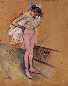 Dancer Adjusting Her Tights - Henri de Toulouse-Lautrec. I cannot count how many times i've done this over the years of recitals and classes and performances; it is infinitely nostalgic.