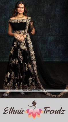 Black Embroidered Velvet Lehenga features a velvet blouse, velvet lehenga with santoon inner and embroidered net dupatta. Embroidery work is completed with zari, sequins and stone work embellishments. Black pure velvet fabric dori embroidery line up with Thread work and diamond touch up on it. Neckless blouse pattern with twirl pattern on lazy shoulder work on it gives tremendous looks to diva embellished with thread embroidery and diamond touch, Indian Wedding Lehenga, Black Lehenga, Ghagra Choli, Thread Work, Stone Work, Antique Jewellery, Alter Ego, Indian Outfits, Black Velvet