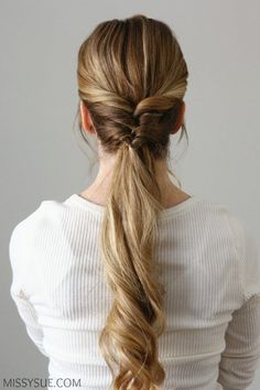 I have been wanting to feature a hairstyle like this one for quite some time now. This is a really easy way to change up your ponytail. I wear my hair in a low ponytail so often it gets boring and dra Long Hair Ponytail, Ponytail Hairstyles, French Braid Ponytail, Ponytail Ideas, Elegant Hairstyles, Wedding Hairstyles, Pretty Hairstyles, Beautiful Long Hair, Hair Looks