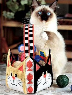 Plastic Canvas - Pet Patterns - Cat Goody Basket