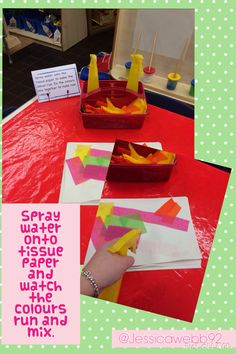 Spray water onto the tissue paper and watch the colours run. EYFS Spray water onto the tissue paper and watch the colours run. Eyfs Activities, Nursery Activities, Color Activities, Creative Activities, Preschool Activities, Creative Area Eyfs, Preschool Displays, Colour Mixing Eyfs, Different Types Of Play