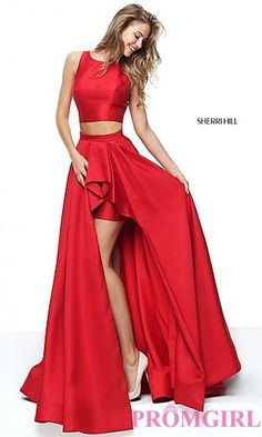Two-Piece Sherri Hill Prom Dress with High-Low Skirt at PromGirl.com USE THIS CODE TO RECEIVE A SPECIAL GIFT AT CHECKOUT: PG430B92REP