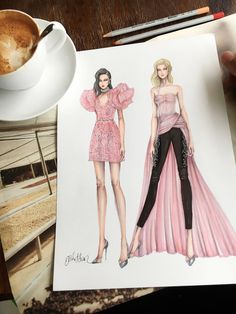 Fashion Illustration Speed Painting with Ink - Drawing On Demand Dress Design Sketches, Fashion Design Drawings, Fashion Sketches, Dress Illustration, Fashion Illustration Dresses, Fashion Illustrations, Fashion Sketchbook, Fashion Art, Fashion Models